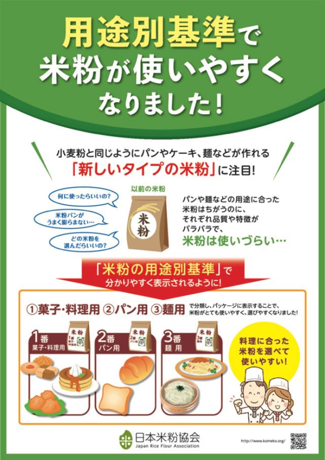 日本米粉協会が作成した「米粉用途別基準」のPRポスター